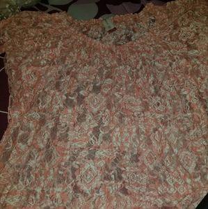 Orange lacey see-through blouse